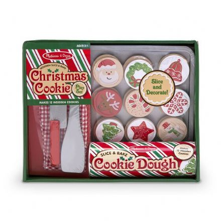 Slice and Bake Wooden Christmas Cookie Play Food Set
